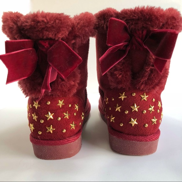 Brown Faux Suede Faux Fur Cute Booties Toddlers Kids Girls Winter Boots Size 12